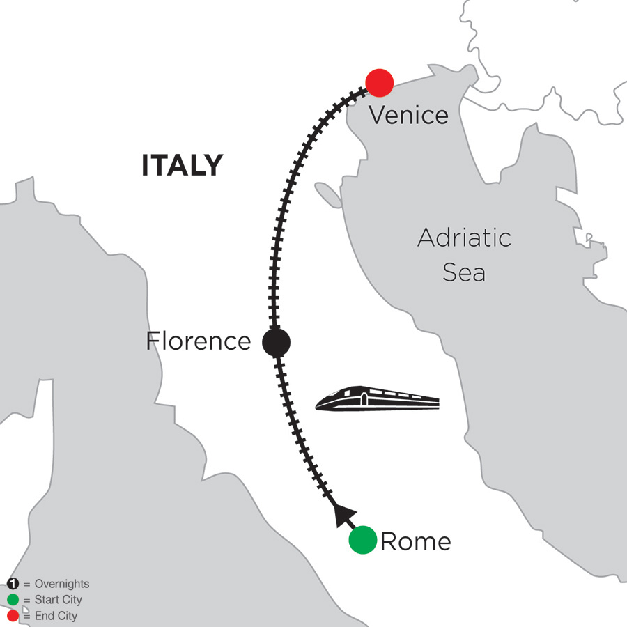 Monograms Tour Map  - 2 Nights Rome, 2 Nights Florence & 2 Nights Venice