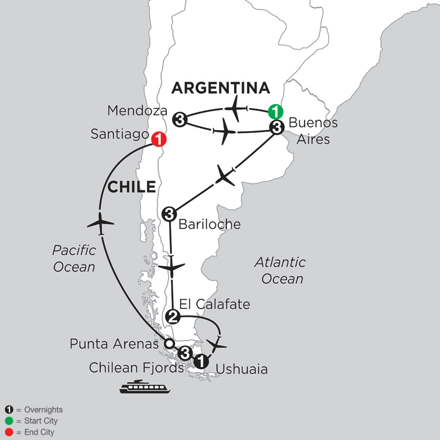 Monograms Tours Argentina Highlights With Mendoza Chilean Fjords - Argentina highlights map