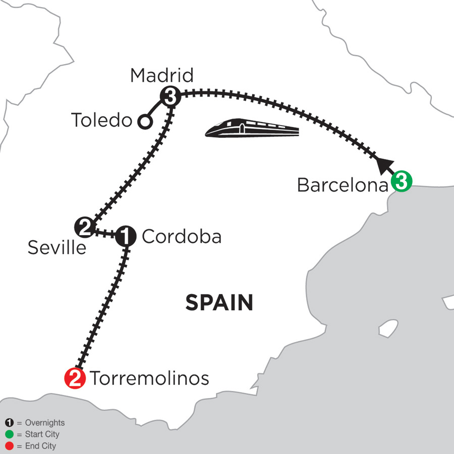 Monograms Tour Map  - 3 Nights Barcelona, 3 Nights Madrid with Toledo, 2 Nights Seville, 1 Night Cordoba & 2 Nights Torremolinos
