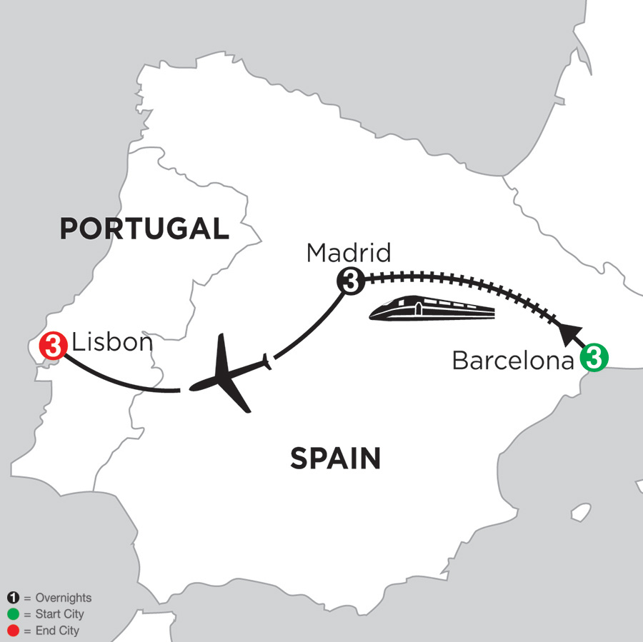 Monograms Tour Map  - 3 Nights Barcelona, 3 Nights Madrid & 3 Nights Lisbon
